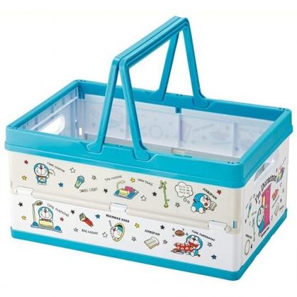小禮堂 哆啦A夢 方形塑膠折疊收納提籃 置物籃 收納籃 玩具籃 (藍 道具)