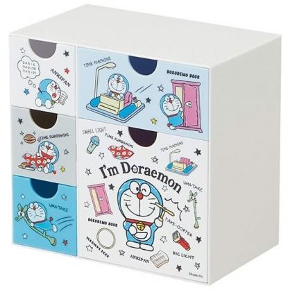 小禮堂 哆啦A夢 塑膠五抽收納盒 置物盒 抽屜盒 飾品盒 文具盒 (藍 道具)