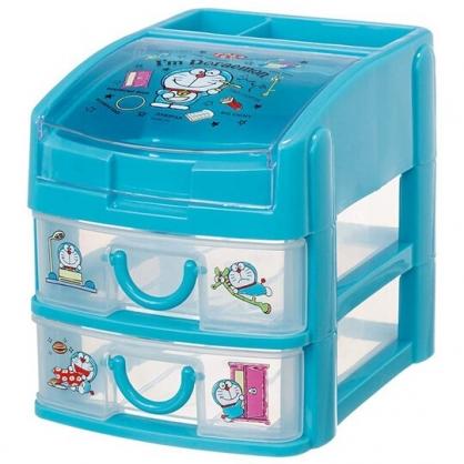 小禮堂 哆啦A夢 塑膠透明雙層抽屜盒 頂層掀蓋 收納盒 置物盒 文具盒 (藍 道具)
