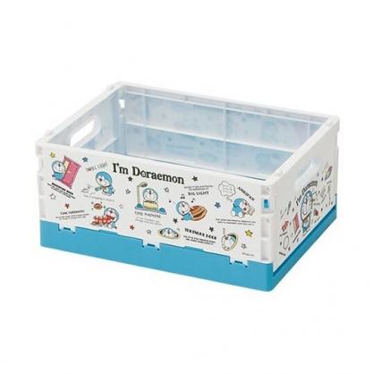小禮堂 哆啦A夢 塑膠折疊無蓋收納箱 CD收納盒 置物籃 可堆疊 (S 藍 道具)