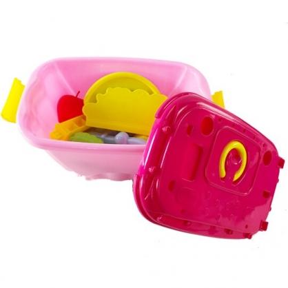 小禮堂 角落生物 蔬菜攤手推車玩具組 兒童玩具 親子玩具 扮家家酒 玩具箱 (粉桃)