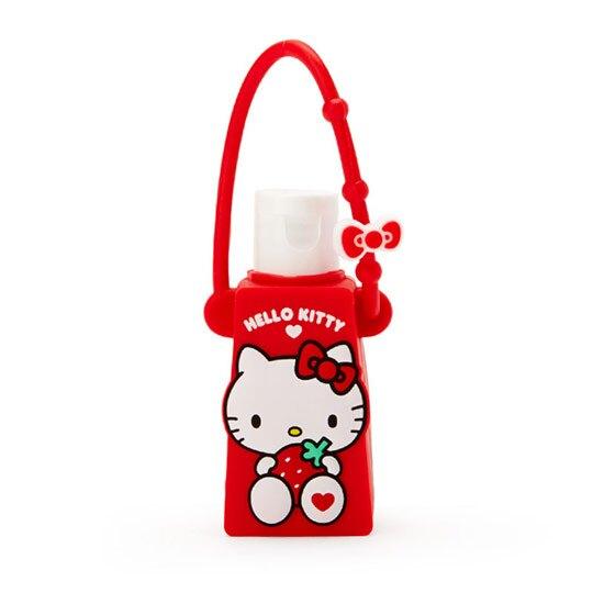 小禮堂 Hello Kitty 乾洗手 潔手凝露 手部清潔 矽膠瓶裝 草莓香 28g (紅)