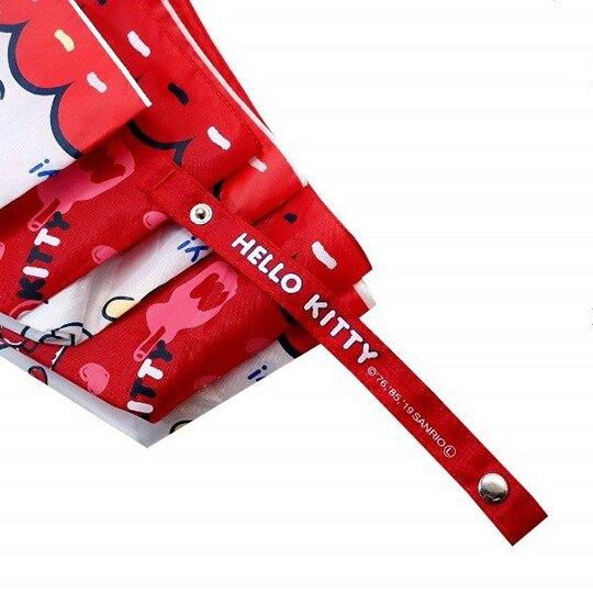 小禮堂 Hello Kitty 防風傘骨 彎把折疊傘 折傘 雨傘 雨具 (紅藍 提籃)