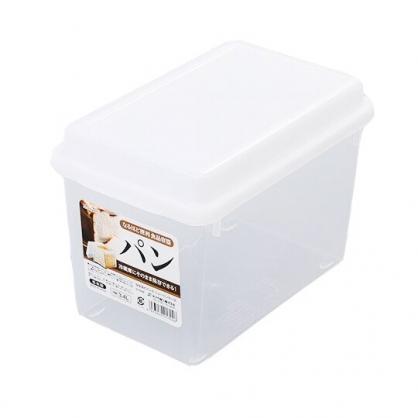 小禮堂 精工SANADA 日製 透明 吐司收納盒 保鮮盒 麵包盒 3.4L (白蓋)