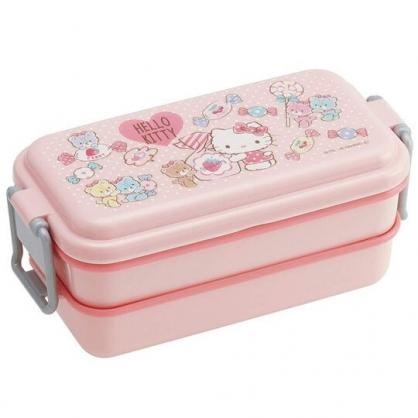 小禮堂 Hello Kitty 日製 雙層便當盒 方形 雙扣 保鮮盒 餐盒 660ml (粉 彩色熊)