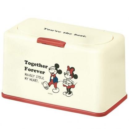 小禮堂 迪士尼 米奇米妮 塑膠 按壓彈蓋面紙盒 方形 抽取式紙巾盒 口罩盒 (米紅 站姿)