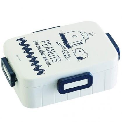 小禮堂 史努比 日製 便當盒 方形 四扣 保鮮盒 餐盒 650ml (米藍 吐司機)