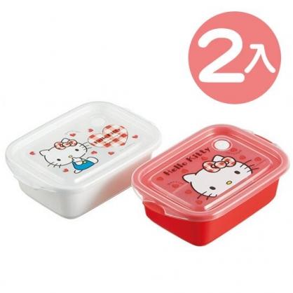 小禮堂 Hello Kitty 日製 透明保鮮盒組 方形 便當盒 餐盒 500ml (2入 紅白 愛心)