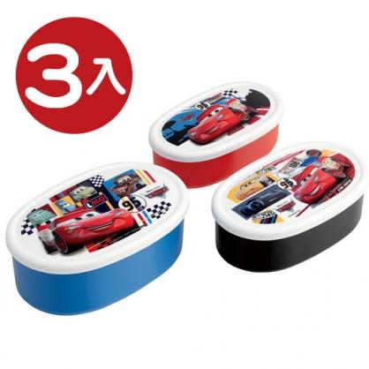 小禮堂 迪士尼 閃電麥坤 日製 保鮮盒組 橢圓形 便當盒 食物盒 餐盒 (3入 藍白 格圖)