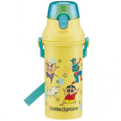 小禮堂 蠟筆小新 日製 直飲式水壺 附背帶 水瓶 隨身瓶 兒童水壺 480ml (黃綠 點點)