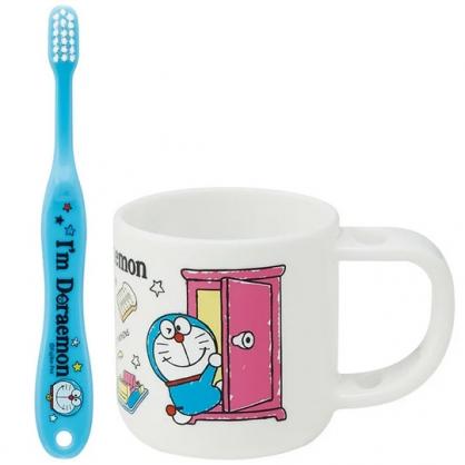 小禮堂 哆啦A夢 兒童牙刷杯組 附牙刷蓋 漱口杯 盥洗用品 3-5歲適用 (藍白 任意門)