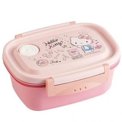小禮堂 Hello Kitty 日製 便當盒 方形 雙扣 輕量型 保鮮盒 餐盒 430ml (粉 化妝品)