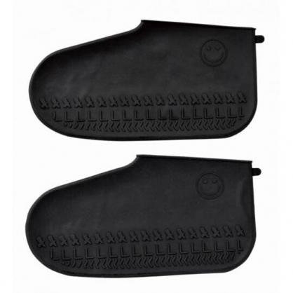 小禮堂 矽膠 防水鞋套 止滑鞋套 雨鞋 附夾鏈袋 短筒 攜帶式 (黑)