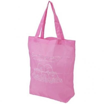 小禮堂 角落生物 尼龍 折疊環保購物袋 附夾鏈袋 環保袋 手提袋 (粉 戴花圈)