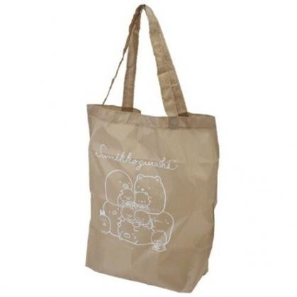 小禮堂 角落生物 尼龍 折疊環保購物袋 附夾鏈袋 環保袋 手提袋 (棕 玩偶)