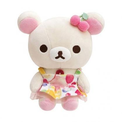 小禮堂 懶懶熊 牛奶熊 沙包玩偶 絨毛 娃娃 布偶 玩具 (S 白 水果洋裝)
