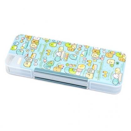 小禮堂 角落生物 日製 多功能鉛筆盒 雙開式 筆袋 附削筆器 學童文具 (藍 讀書)