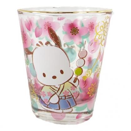 小禮堂 帕恰狗 迷你 透明玻璃杯 無把 清酒杯 茶杯 (粉金 櫻花)