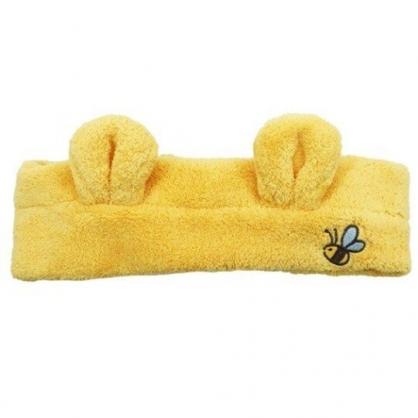 小禮堂 迪士尼 小熊維尼 毛巾布 鬆緊束髮帶 洗臉髮帶 髮箍 頭飾 (黃 造型耳)