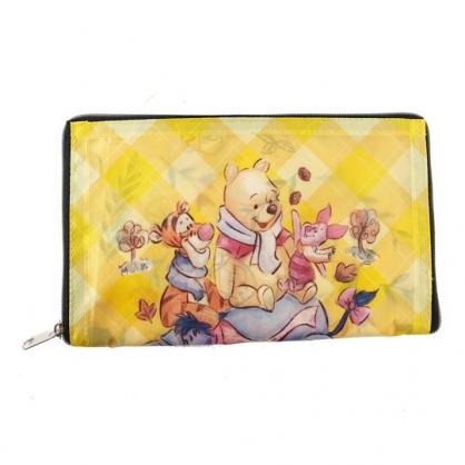 小禮堂 迪士尼 小熊維尼 折疊環保購物袋 尼龍 環保袋 手提袋 (黃 花朵)