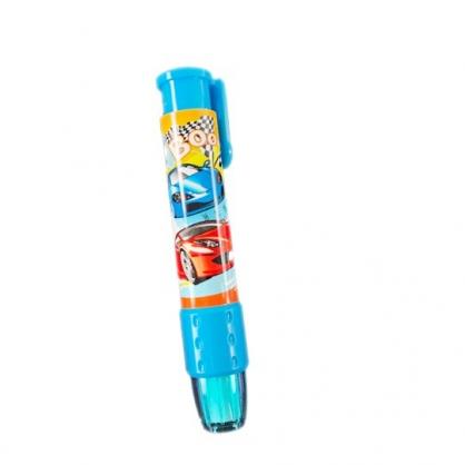 小禮堂 跑車 橡皮擦 筆型 按壓式 擦布 學童文具 (藍 賽車)