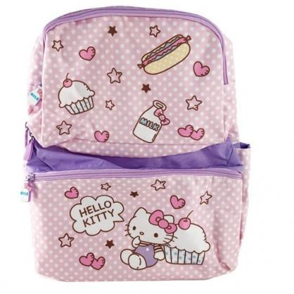 小禮堂 Hello Kitty 後背包 兒童背包 尼龍 三層拉鍊 雙肩包 書包 (粉紫 杯子蛋糕)