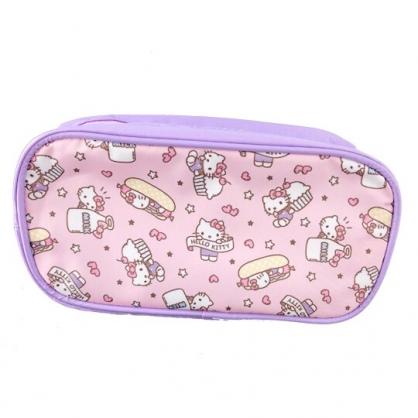 小禮堂 Hello Kitty 拉鍊筆袋 尼龍 收納包 化妝包 鉛筆盒 (粉紫 杯子蛋糕)