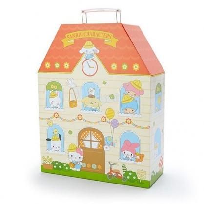 小禮堂 Sanrio大集合 手提收納盒 紙質 房屋型 玩偶收納 模型娃娃屋 (米橘 復古學園)