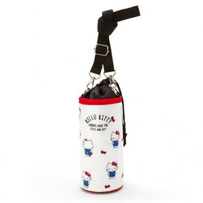 小禮堂 Hello Kitty 水壺袋 水壺背袋 保冷 防水 環保杯袋 水瓶袋 500ml (白 滿版)