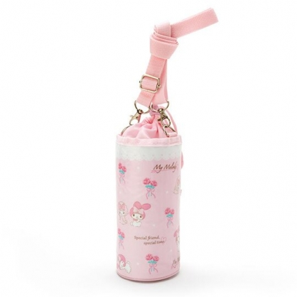 小禮堂 美樂蒂 水壺袋 水壺背袋 保冷 防水 環保杯袋 水瓶袋 500ml (粉 滿版)