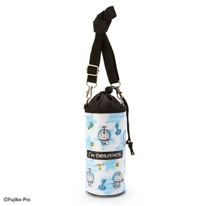 小禮堂 哆啦A夢 水壺袋 水壺背袋 保冷 防水 環保杯袋 水瓶袋 500ml (白 滿版)