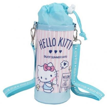 小禮堂 Hello Kitty 水壺袋 水壺背袋 保冷 防水 環保杯袋 水瓶袋 500ml (粉藍 直紋)