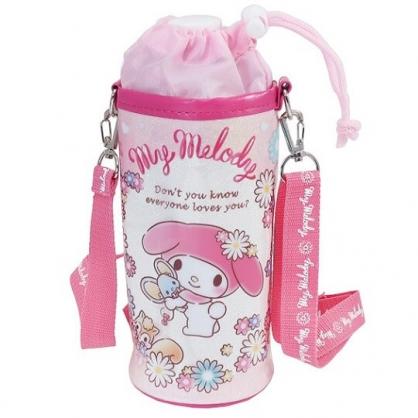 小禮堂 美樂蒂 水壺袋 水壺背袋 保冷 防水 環保杯袋 水瓶袋 500ml (粉白 花圈)