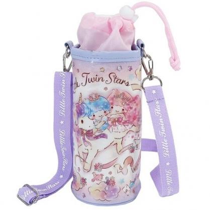 小禮堂 雙子星 水壺袋 水壺背袋 保冷 防水 環保杯袋 水瓶袋 500ml (粉紫 獨角獸)