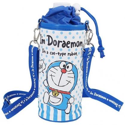 小禮堂 哆啦A夢 水壺袋 水壺背袋 保冷 皮質 環保杯袋 水瓶袋 500ml (藍白 點點)
