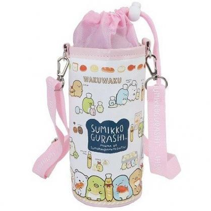 小禮堂 角落生物 水壺袋 水壺背袋 保冷 皮質 環保杯袋 水瓶袋 500ml (粉白 麵包)
