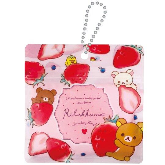 小禮堂 懶懶熊 拉拉熊 折疊環保購物袋 尼龍 附夾鏈袋 環保袋 手提袋 (粉 草莓)