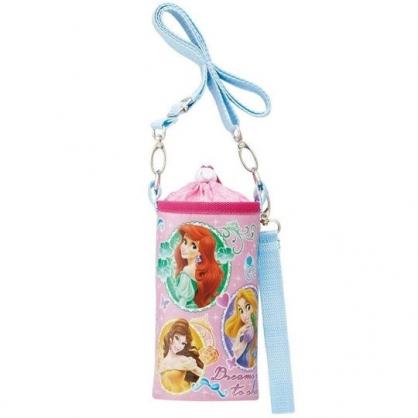 小禮堂 迪士尼 公主 水壺袋 水壺背袋 保冷 防水 環保杯袋 水瓶袋 500ml (粉藍 圓框)