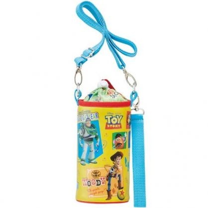 小禮堂 迪士尼 玩具總動員 水壺袋 水壺背袋 保冷 防水 環保杯袋 水瓶袋 500ml (黃紅 格圖)
