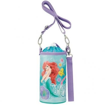 小禮堂 迪士尼 小美人魚 水壺袋 水壺背袋 保冷 防水 環保杯袋 水瓶袋 500ml (綠紫 貝殼)