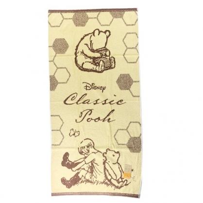 小禮堂 迪士尼 小熊維尼 浴巾 毛巾 純棉 無捻紗 60x120cm (黃棕 背對背)
