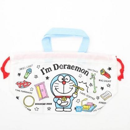 小禮堂 哆啦A夢 日製 束口便當袋 手提袋 縮口袋 便當提袋 棉質 (藍白 道具)