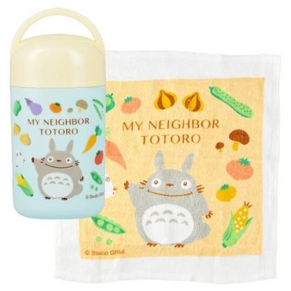 小禮堂 宮崎駿 Totoro 龍貓 方形毛巾 毛巾罐 方巾 手帕 純棉 無捻紗 28x32cm (米綠 蔬菜)