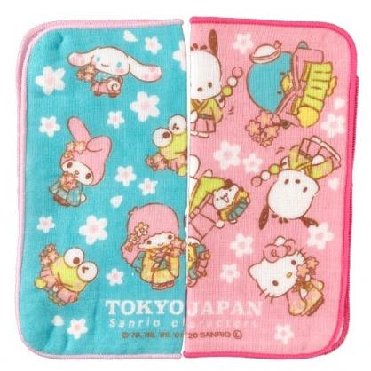 小禮堂 Sanrio大集合 方巾組 手帕 毛巾 純棉 紗布 20x20cm (2入 粉綠 櫻花)