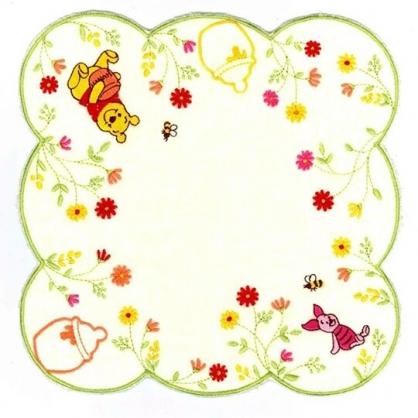 小禮堂 迪士尼 小熊維尼 方巾 手帕 小毛巾 純棉 割絨 25x25cm (米綠 花邊)