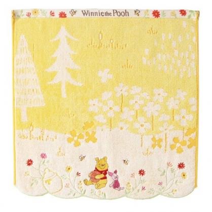 小禮堂 迪士尼 小熊維尼 短毛巾 方形毛巾 純棉 割絨 34x36cm (橘黃 花朵)