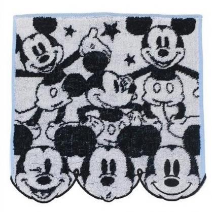 小禮堂 迪士尼 米奇 方巾 手帕 小毛巾 純棉 無捻紗 25x25cm (黑白 多動作)