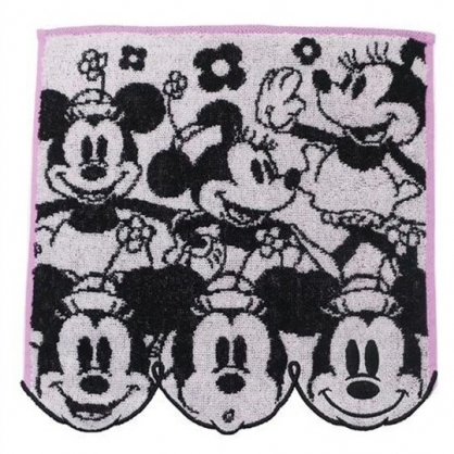 小禮堂 迪士尼 米妮 方巾 手帕 小毛巾 純棉 無捻紗 25x25cm (黑白 多動作)