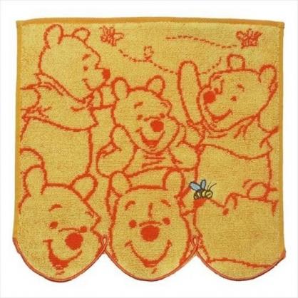 小禮堂 迪士尼 小熊維尼 方巾 手帕 小毛巾 純棉 無捻紗 25x25cm (橘 多動作)