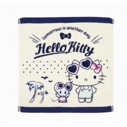 小禮堂 Hello Kitty 短毛巾 方形毛巾 純棉 割絨 34x36cm (米藍 墨鏡)